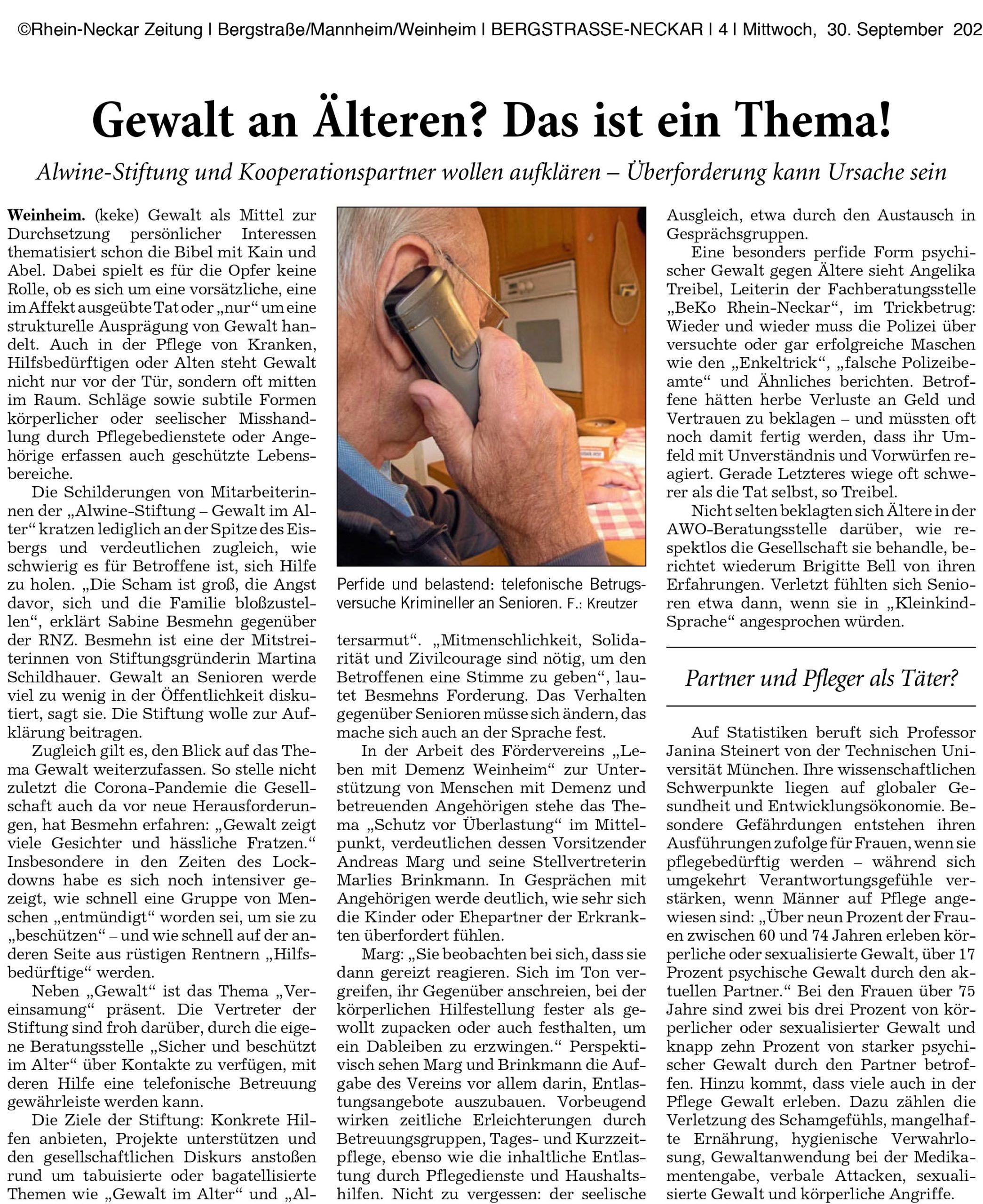 Artike der RNZ Alwine Stiftung