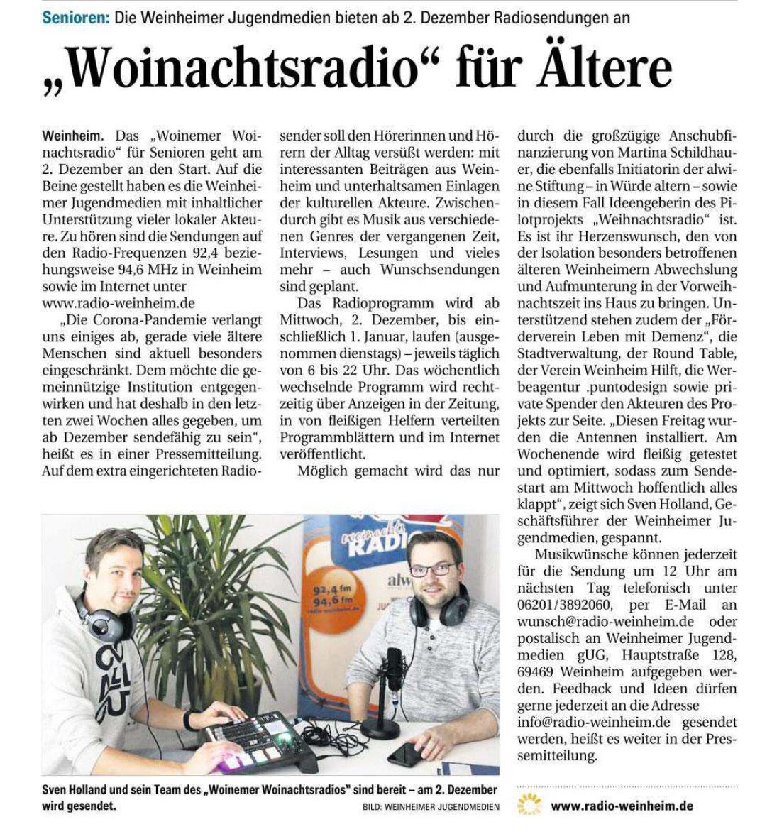 Artikel WN Woinachtsradio