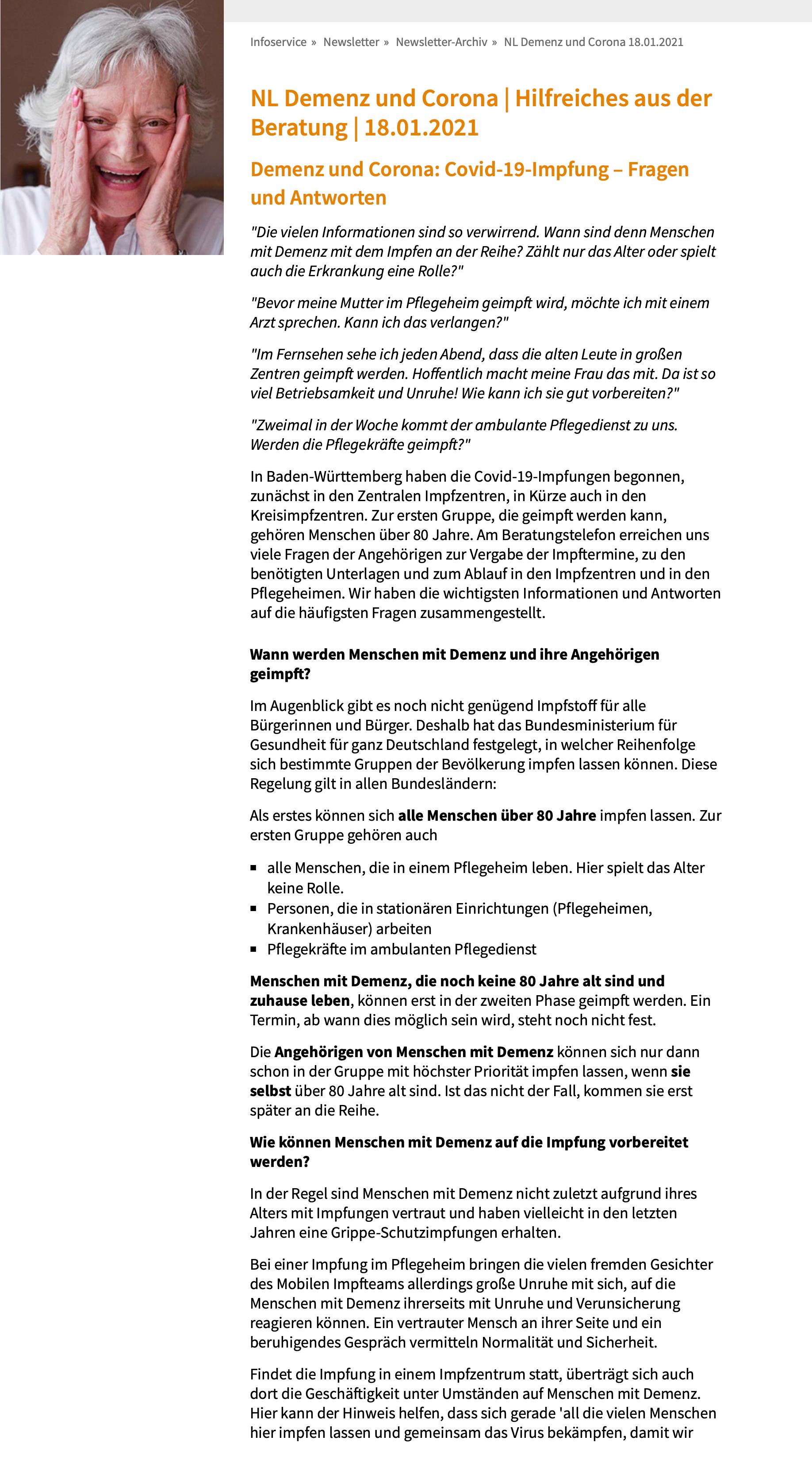 Screenshot Beitrag AlzheimerGesellschaft
